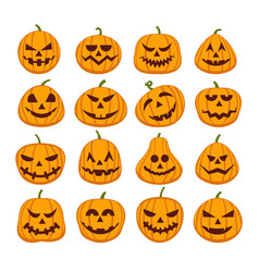 Pumpkin halloween faces vector