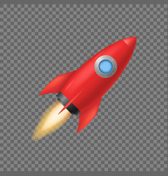 Realistic 3d detailed red rocket space ship vector