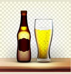 realistic brown bottle and glass of lager vector image