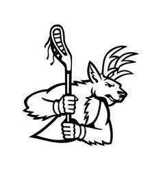 Red deer stag or buck wielding a lacrosse stick vector