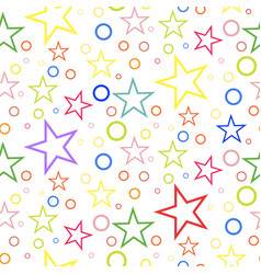 seamless geometric pattern of colored stars and vector image