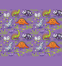 Seamless pattern with cartoon dinosaurs vector