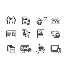 set outline icon business and finance vector image