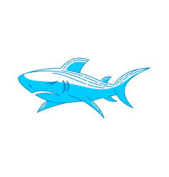 Shark strength logo design outline isolated vector