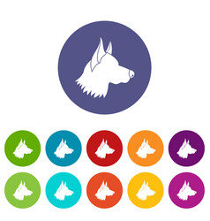 Shepherd dog set icons vector