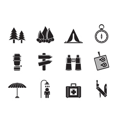 Silhouette Camping and Tourism icons vector image vector image