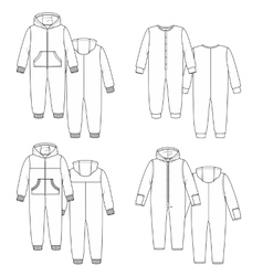 Sketch Four overalls vector