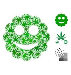 Smiled sticker collage of marijuana vector