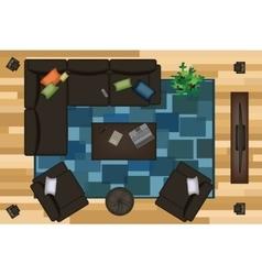 Sofas Armchair Set Furniture Pouf Carpet TV vector