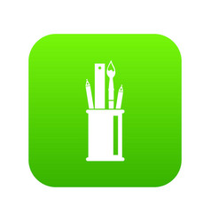 stationery in cup icon digital green vector image