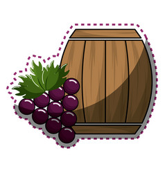 Sticker barrel of wine with grape icon vector