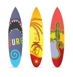 Surf board set in various color vector