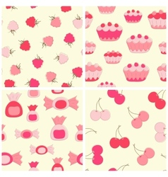 Sweets and fruits seamless backgrounds set vector image