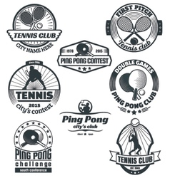 Tennis and ping-pong emblems vector image