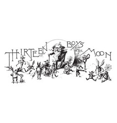 Thirteen boys vintage vector