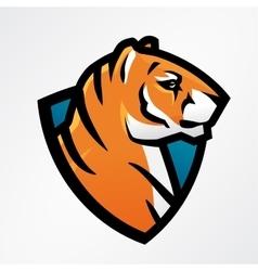 tiger shield sport mascot template football vector image
