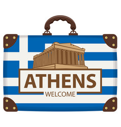 travel suitcase with flag of greece and acropolis vector image