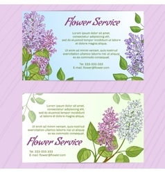 Two business cards with lilac vector image