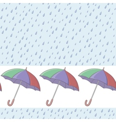 Umbrellas and rain seamless background vector