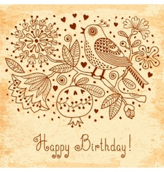 Vintage Festive card with flowers and birds vector image