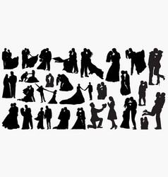 Wedding love silhouettes vector