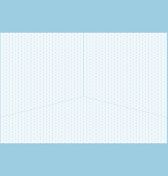 Wide angle isometric grid graph paper background vector