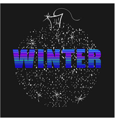 winter word neon letters with christmas ball on vector image
