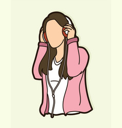 woman listening music with headphones cartoon vector image