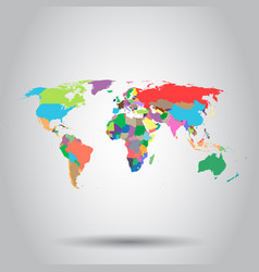 world map colorful political icon business vector image