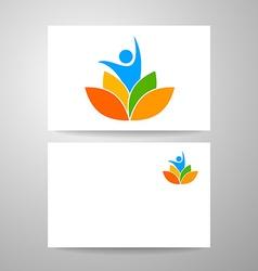 yoga lotos logo template vector image
