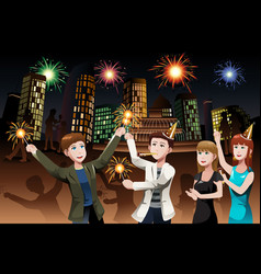 young people celebrating new year vector image