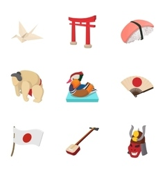 Attractions of japan icons set cartoon style vector