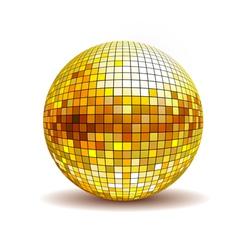 Golden disco ball vector image