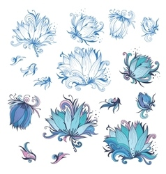 Lily Flower Design Elements Set vector image vector image