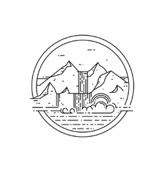 line emblem with mountain landscape and vector image vector image