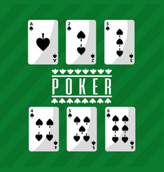 Poker playing cards deck spade playing green vector