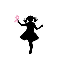 silhouette girl with pink ribbon vector image