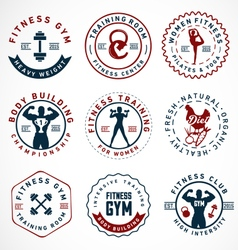 Sports Fitness Body Building and Yoga Badges vector image