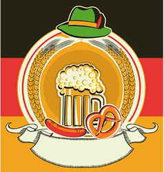Beer label with German flag and oktoberfest vector image