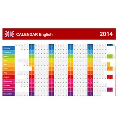 Calendar 2014 English Type 14 vector image vector image