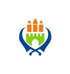Castle sword emblem logo vector