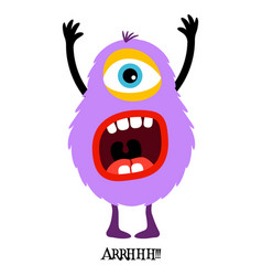 cute violet monster print for t-shirt vector image vector image