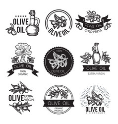 different monochrome labels of olive products and vector image vector image