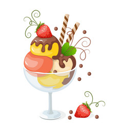 isolated ice cream on white with strawberry vector image