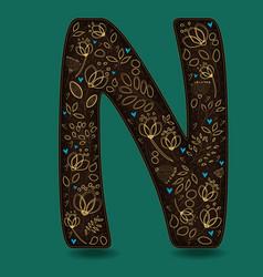 letter n with golden floral decor vector image