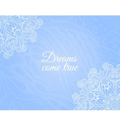 Light blue background with floral doodle vector image vector image