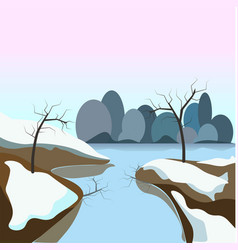 winter landscape with frozen water and snow on vector image vector image