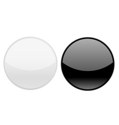 black and white round glass buttons vector image
