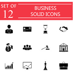 business solid icon icon set finance managment vector image vector image