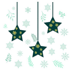 christmas holiday hanging stars vector image vector image
